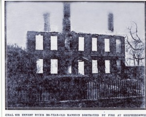 Sibertswold Place burning down in 1920. The building was 300 years old but could not be saved. Coal had been hoarded'allegedly' in the cellar and there was no hope of containing the fire.